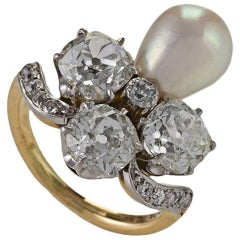 Marcus & Co. Early 20th Century Natural Pearl Diamond Platinum and Gold Ring