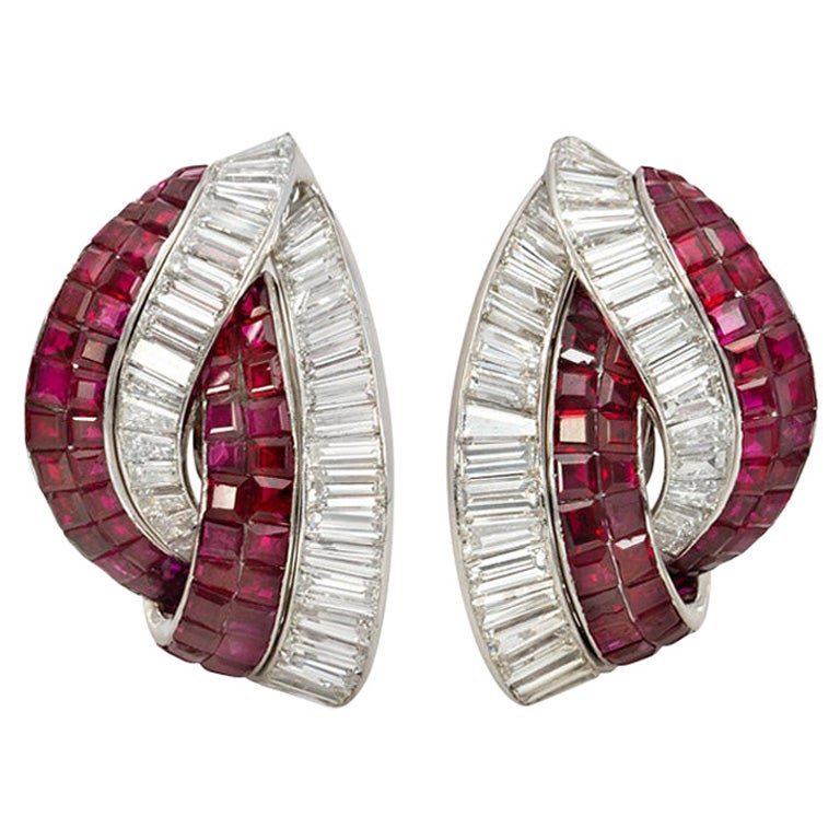 1940s Diamond and Invisibly Set Ruby Clip Earrings of Stylized Knot Design