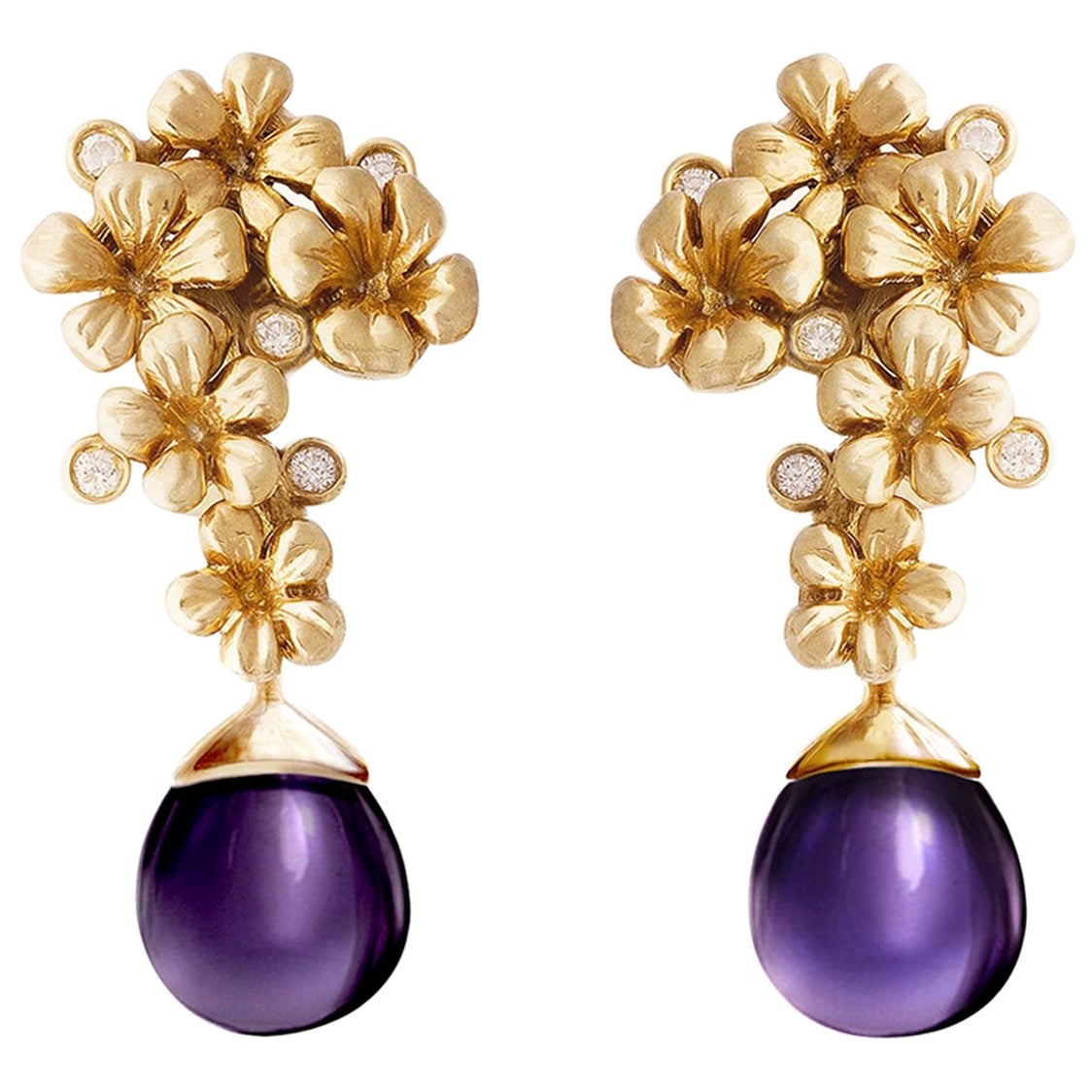 Plum Blossom Earrings by the Artist in 18 Karat Yellow Gold with Round Diamonds