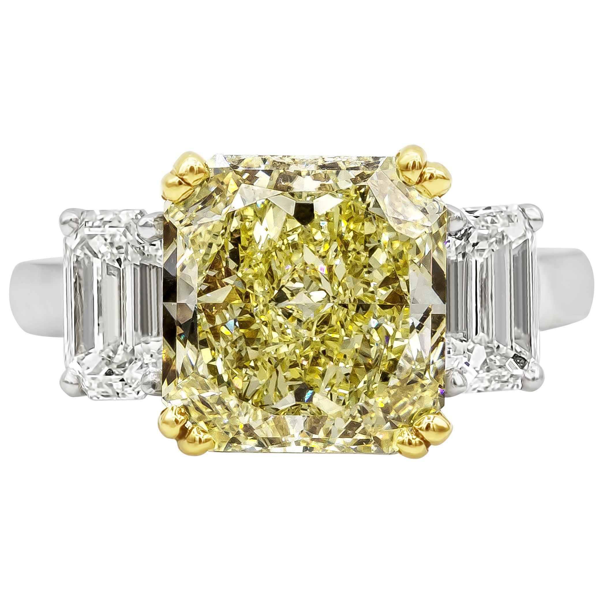 GIA Certified 4.68 Carat Intense Yellow Diamond Three-Stone Engagement Ring