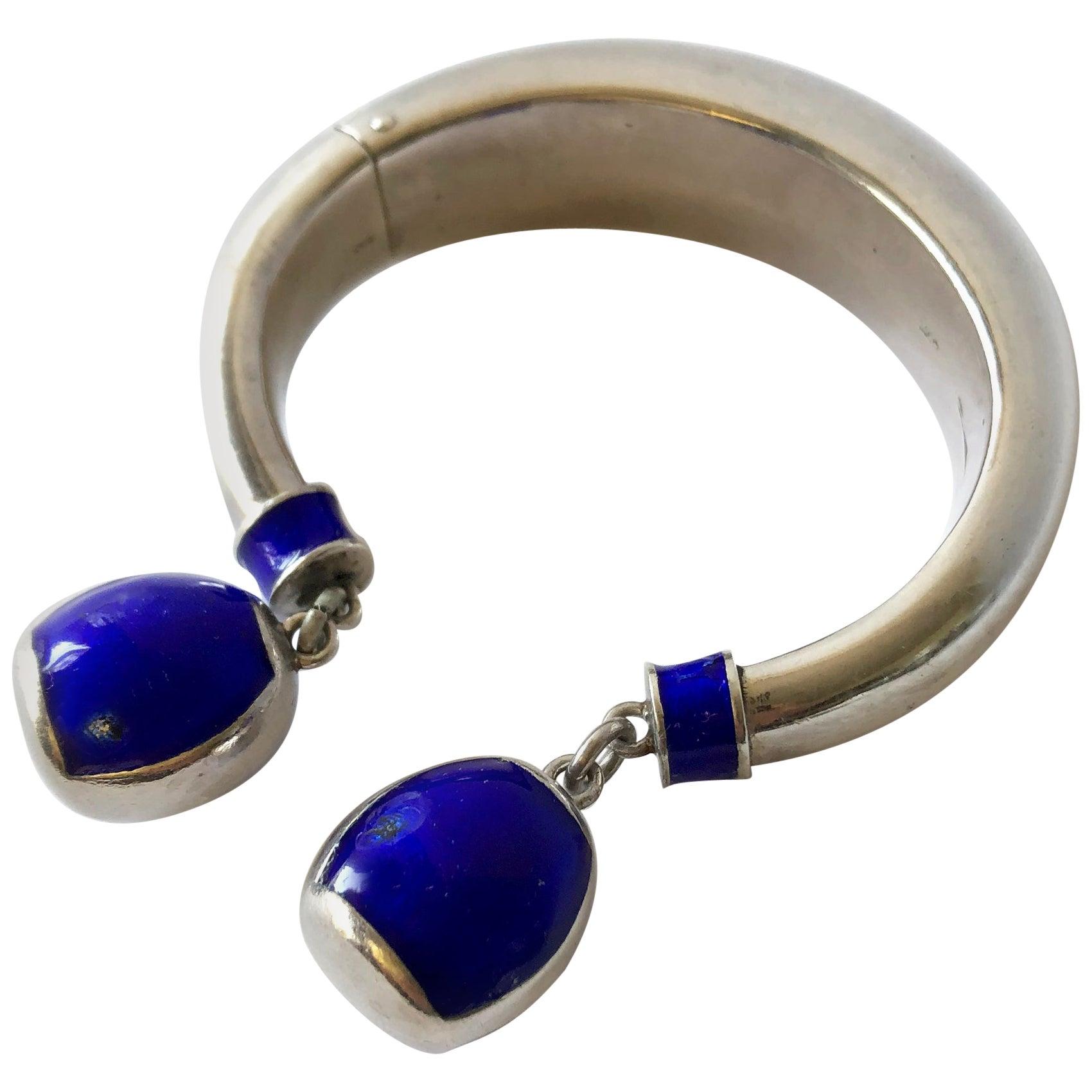 Vintage 1960s Gucci Italy Sterling Silver Enamel Hinged Dangle Bracelet