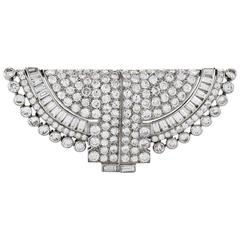 Ostertag Paris 1930s Art Deco Diamond and Platinum Double Clip Brooch