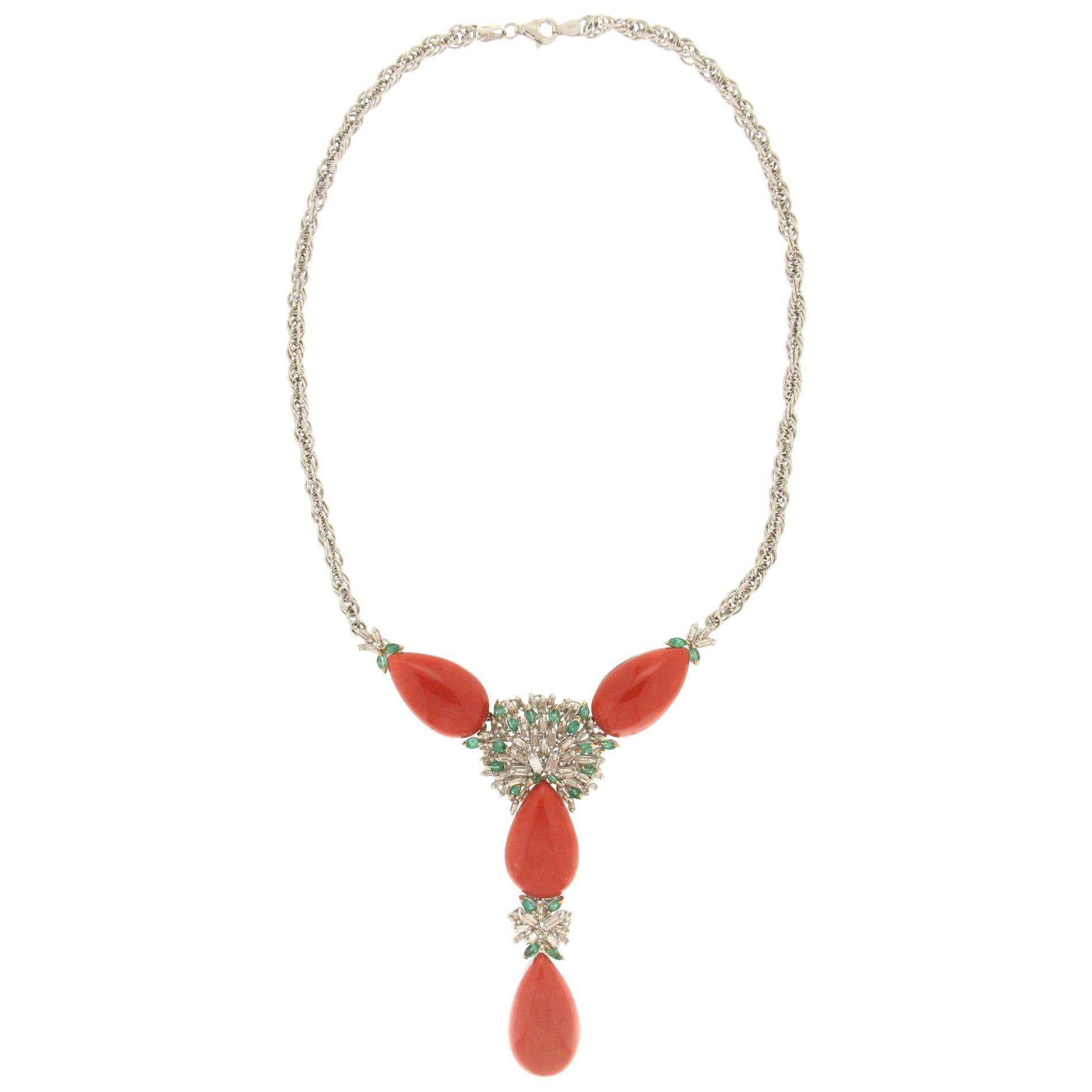 Handcraft Sardinian Coral 18 Karat White Gold Diamonds Emeralds Drop Necklace