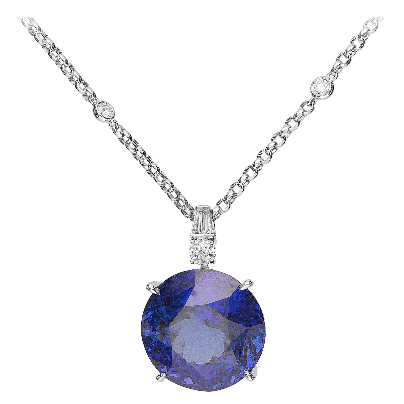 44.73 Carat Tanzanite and Diamond 18 Karat White Gold Pendant Necklace
