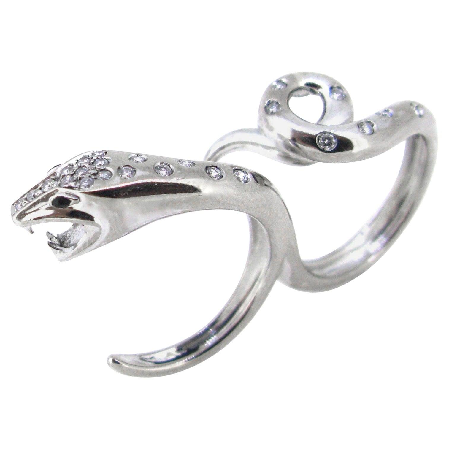 Boucheron Kaa Double Trouble Snake Diamond White Gold Ring