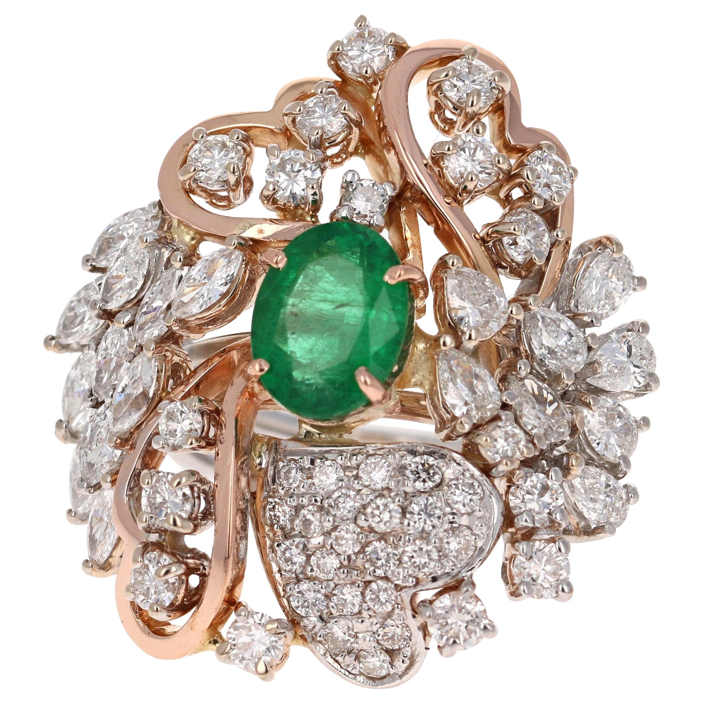 4.83 Carat Emerald and Diamond 18 Karat White Gold Vintage Cocktail Ring