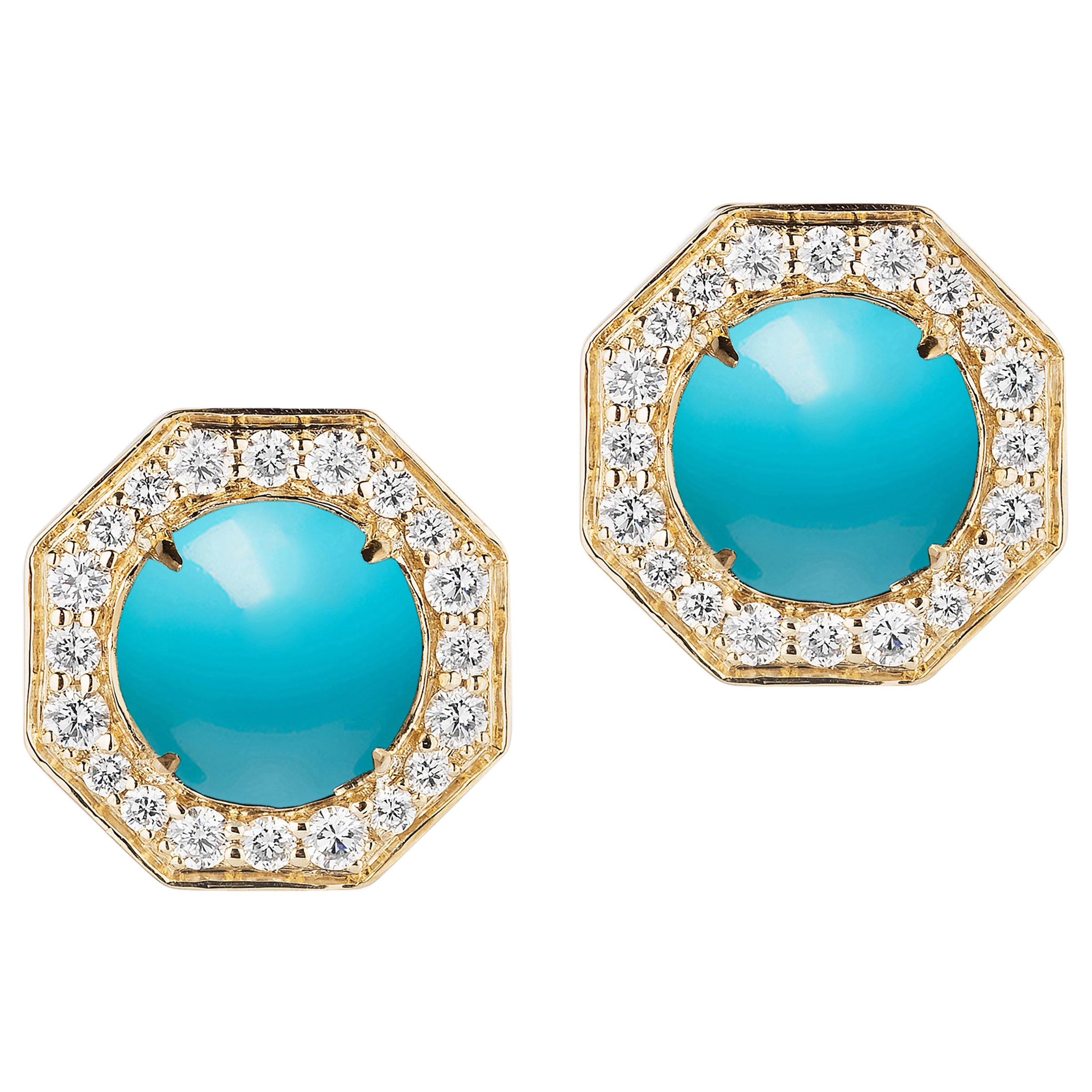 Goshwara Turquoise And Diamond Stud Earrings