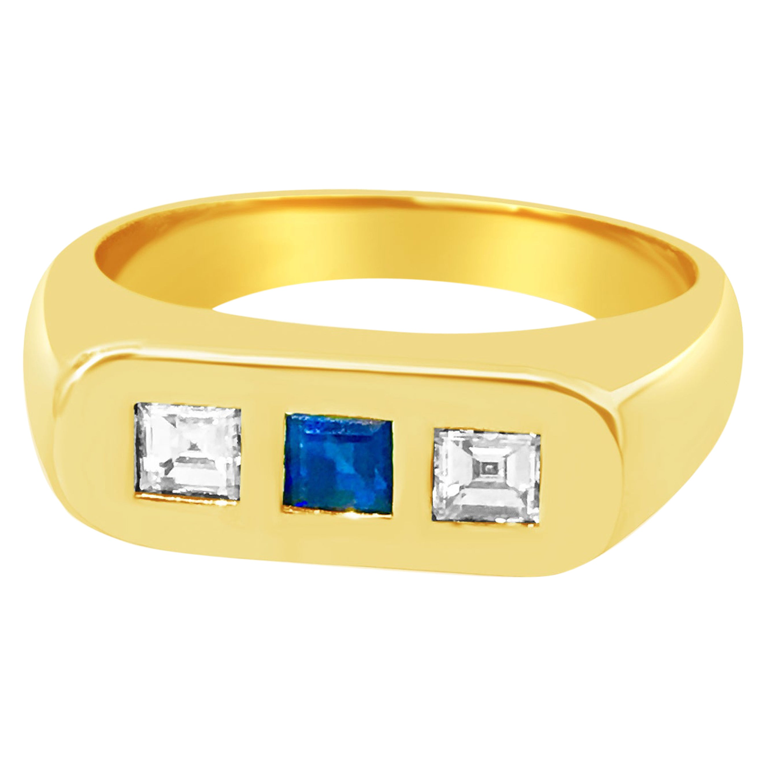 Estate Blue Sapphire and Diamond Yellow Gold Ring