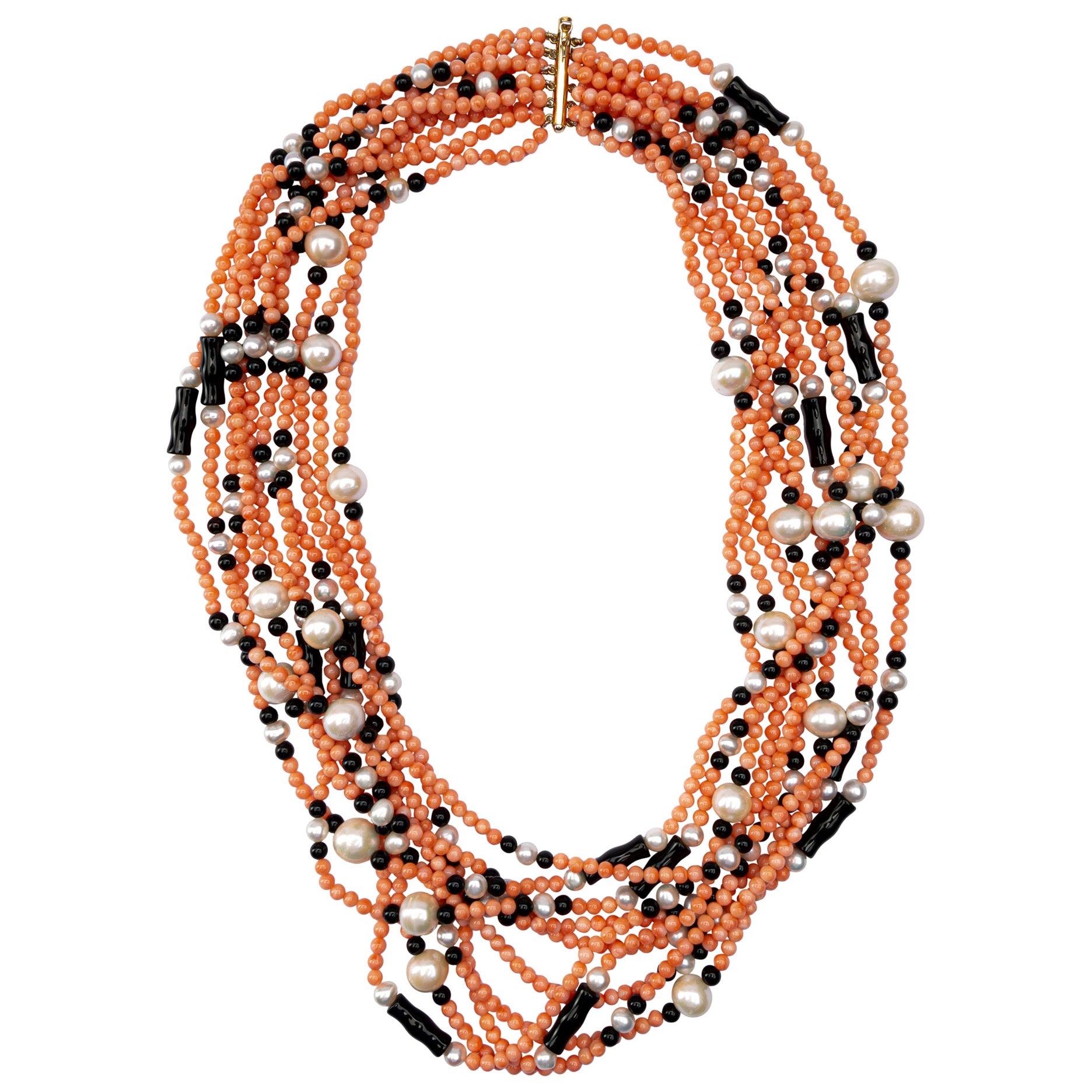 Jona Coral Pearl Onyx Multi Strand Necklace