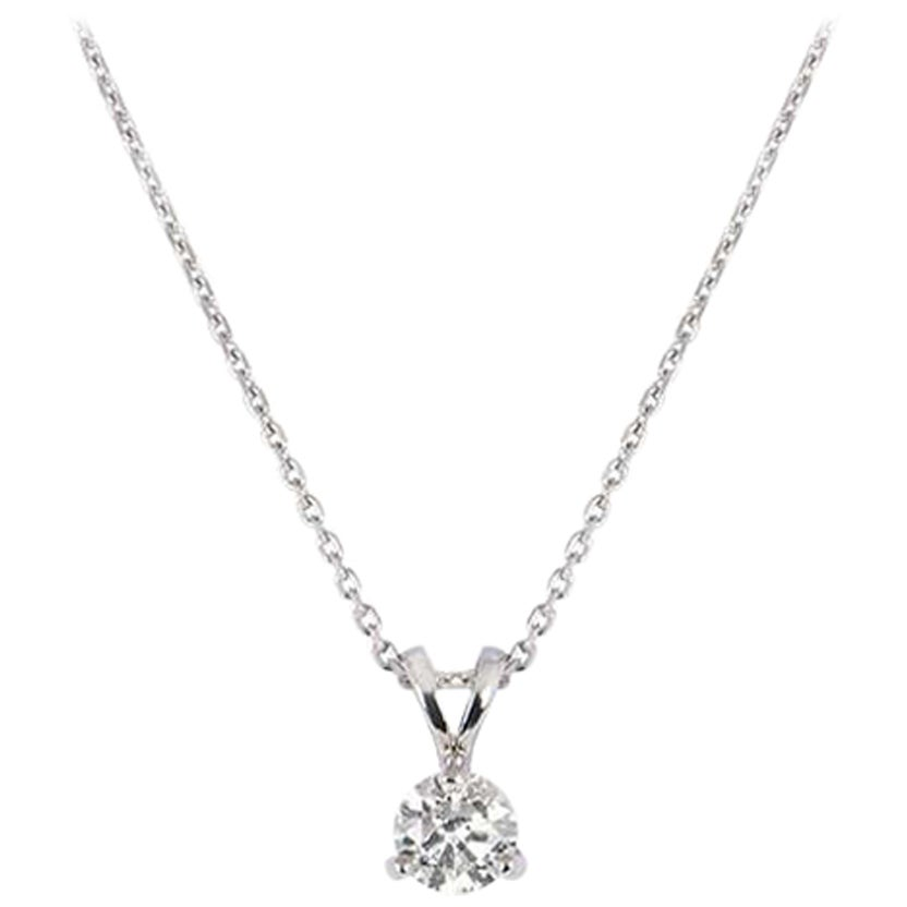 GIA Certified Platinum Round Brilliant Cut Diamond Pendant 0.70 Carat