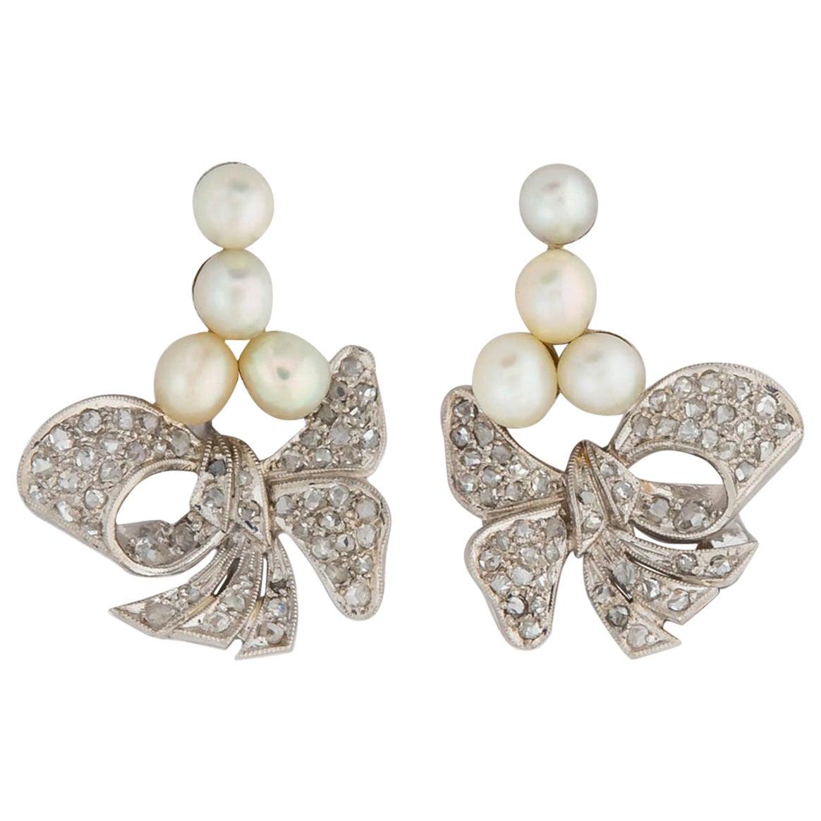 Vintage Platinum Pearl and Diamond Earrings
