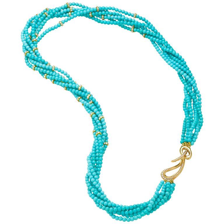 Naomi Sarna Turquoise Diamond Gold Necklace  For Sale