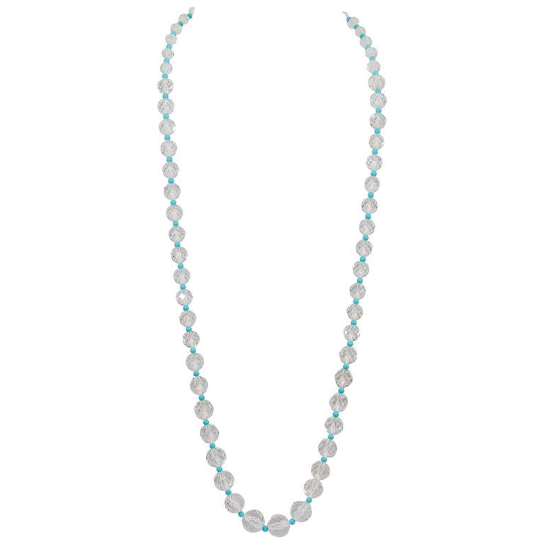 Naomi Sarna Turquoise Crystal Diamond Gold Necklace In New Condition For Sale In New York, NY