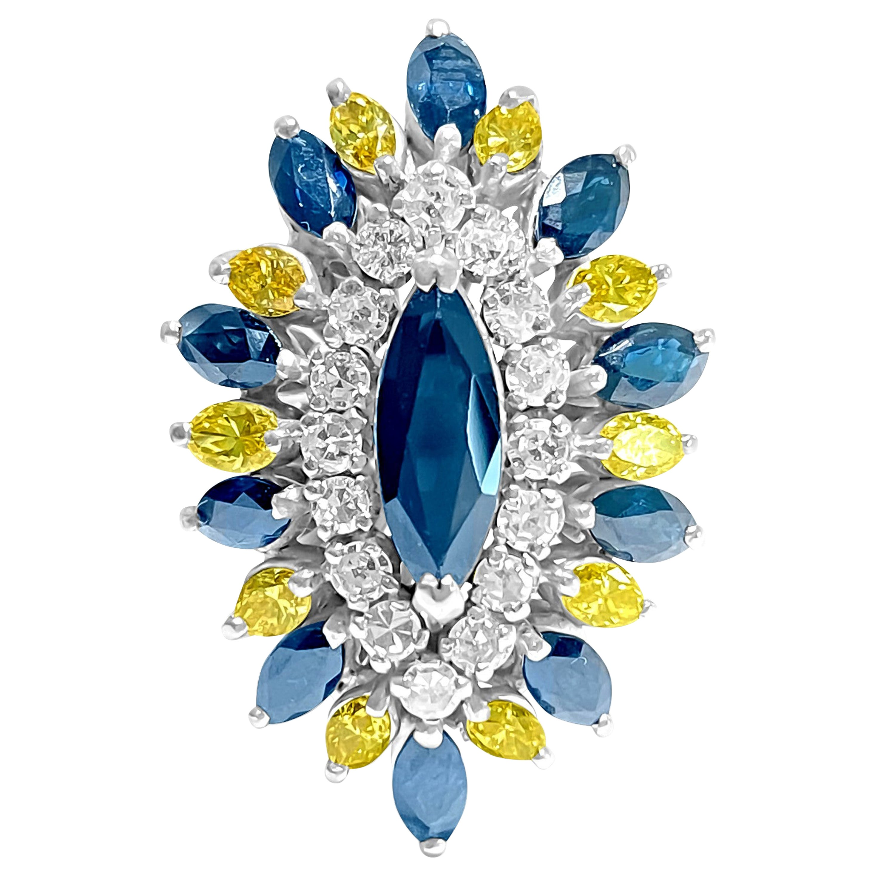 Edwardian Blue Sapphire White and Yellow Diamond Cocktail Ring