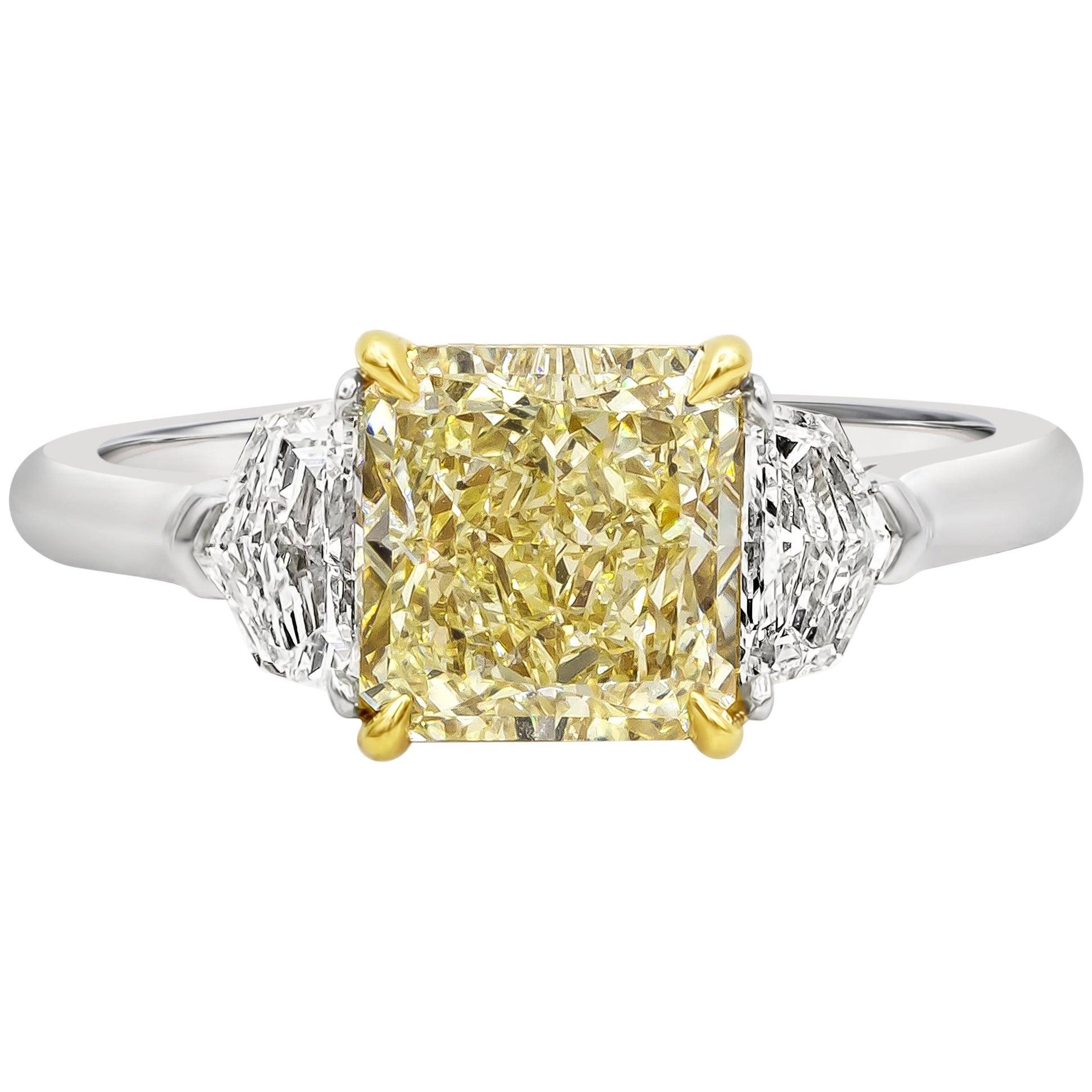 GIA Certified 2.01 Carat Yellow Diamond Three-Stone Engagement Ring