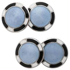 1920s-1930s Art Deco Guilloche Enamel Sterling Silver Cufflinks
