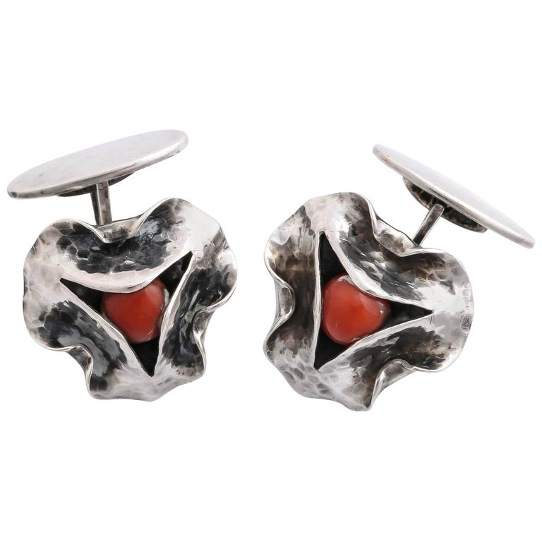 1920s-1930s Art Deco Coral Sterling Silver Cufflinks For Sale