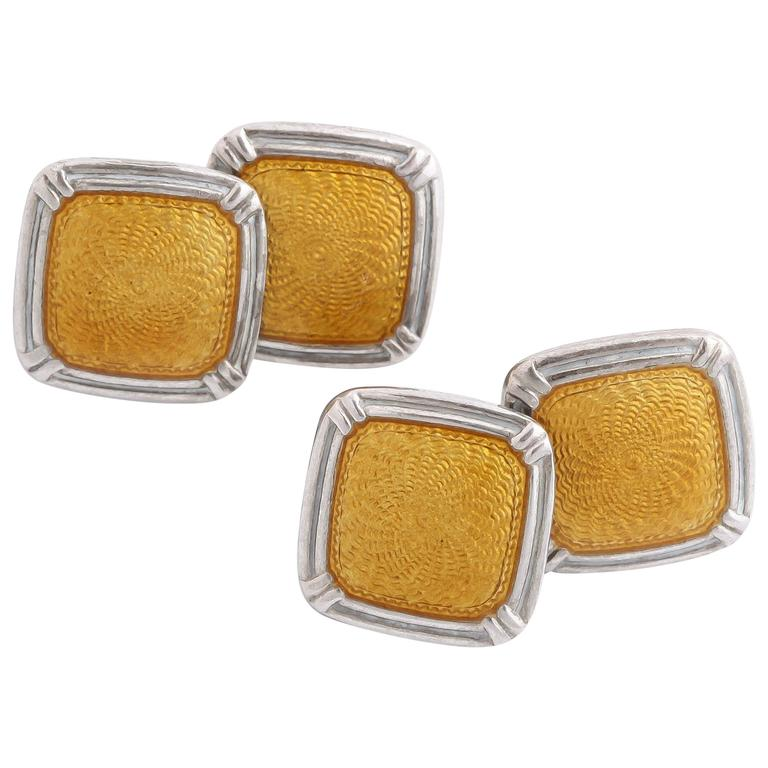 1920s-1930s Art Deco Guilloche Enamel Sterling Silver Cufflinks For Sale