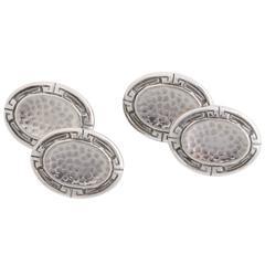 1920s-1930s Art Deco Sterling Silver Oval Cufflinks