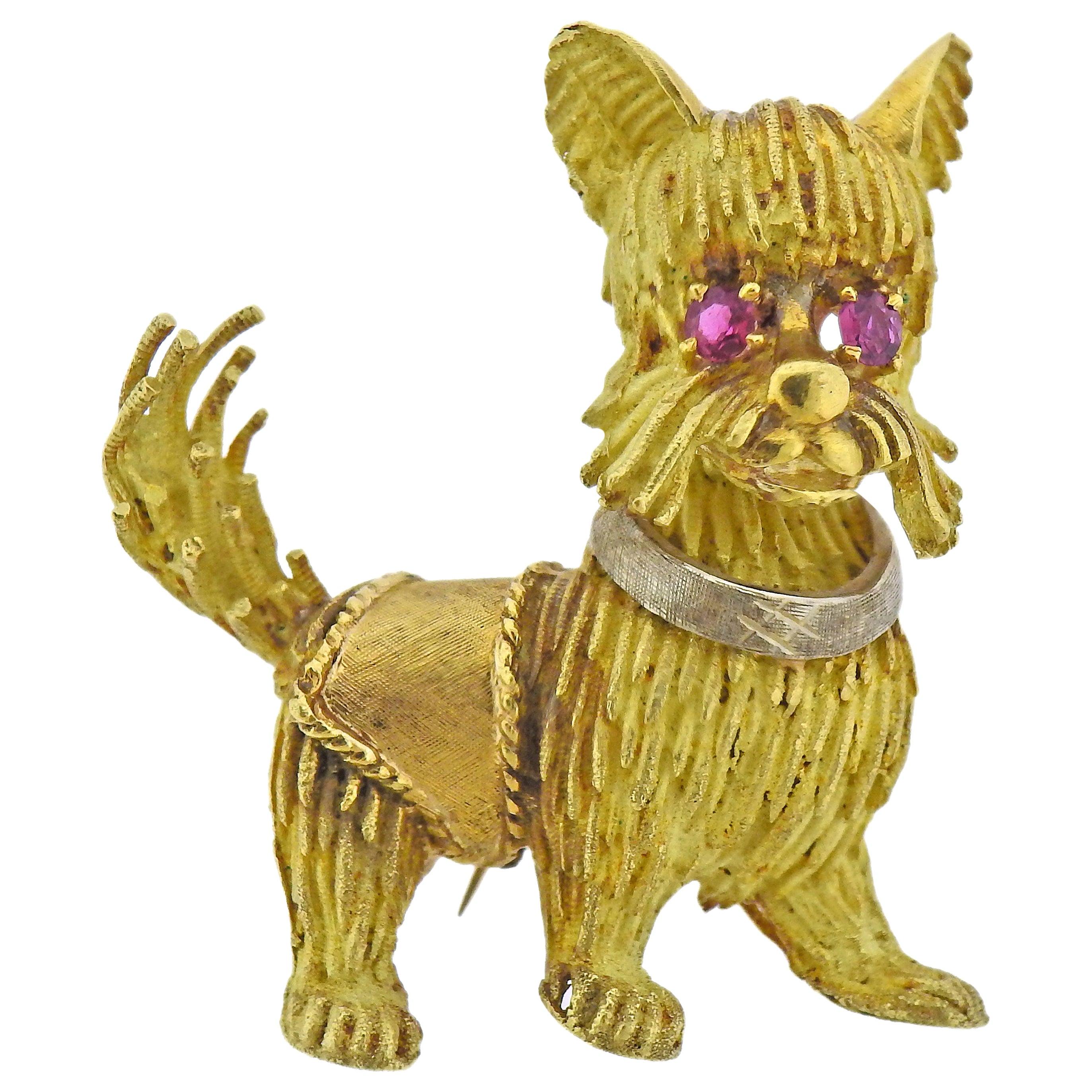 1960s Ruby Gold Dog Brooch Pin