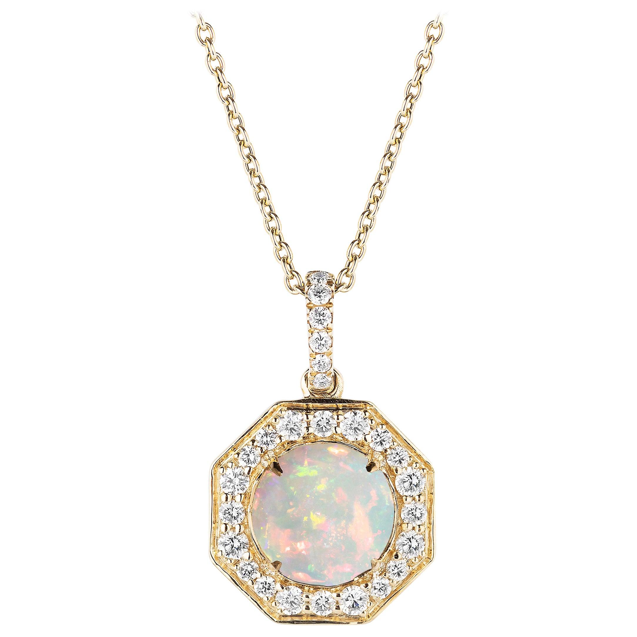 Goshwara Opal Cabochon with Diamond Pendant
