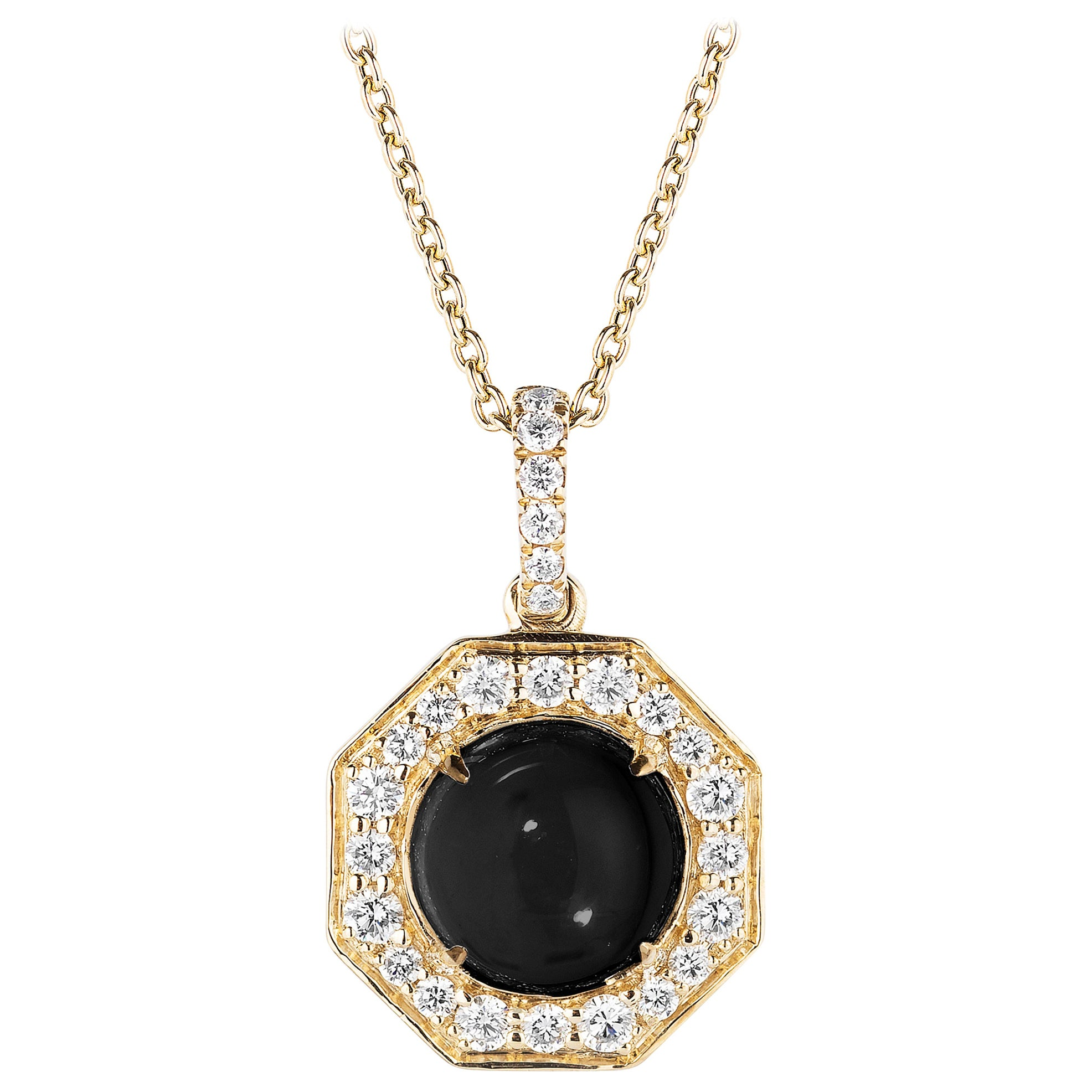 Goshwara Onyx Cabochon And Diamond Pendant