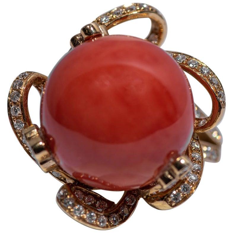 Natural Red Orange Coral Diamond 18 Karat Gold Ring