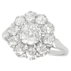 1.43 Carat Diamond and Platinum Cluster Ring