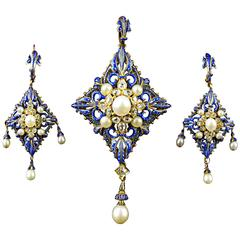 C. Giuliano Enamel Pearl Diamond Gold Demi-Parure