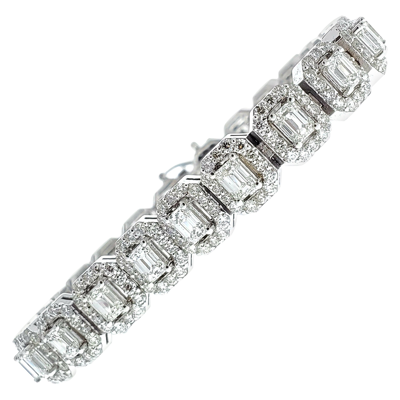 8.60 Carat Emerald Diamond Bracelet in 14 Karat White Gold