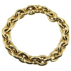 Jona 18 Karat Yellow Gold Hand Made Heavy Chain Link Bracelet