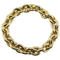 Jona 18 Karat Yellow Gold Hand Made Heavy Chain Link Bracelet