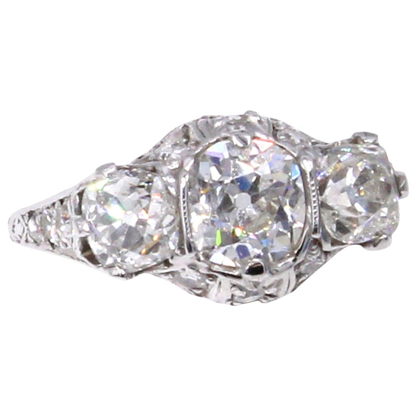 Edwardian Old Mine Cushion Diamond Platinum Engagement Ring