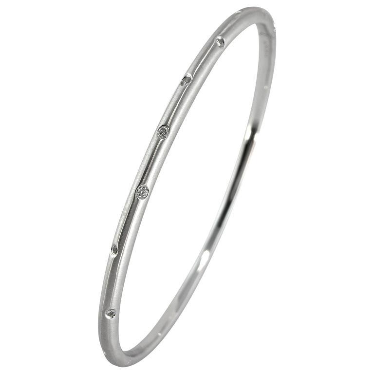 Jona White Diamond 18k White Gold Bangle Bracelet