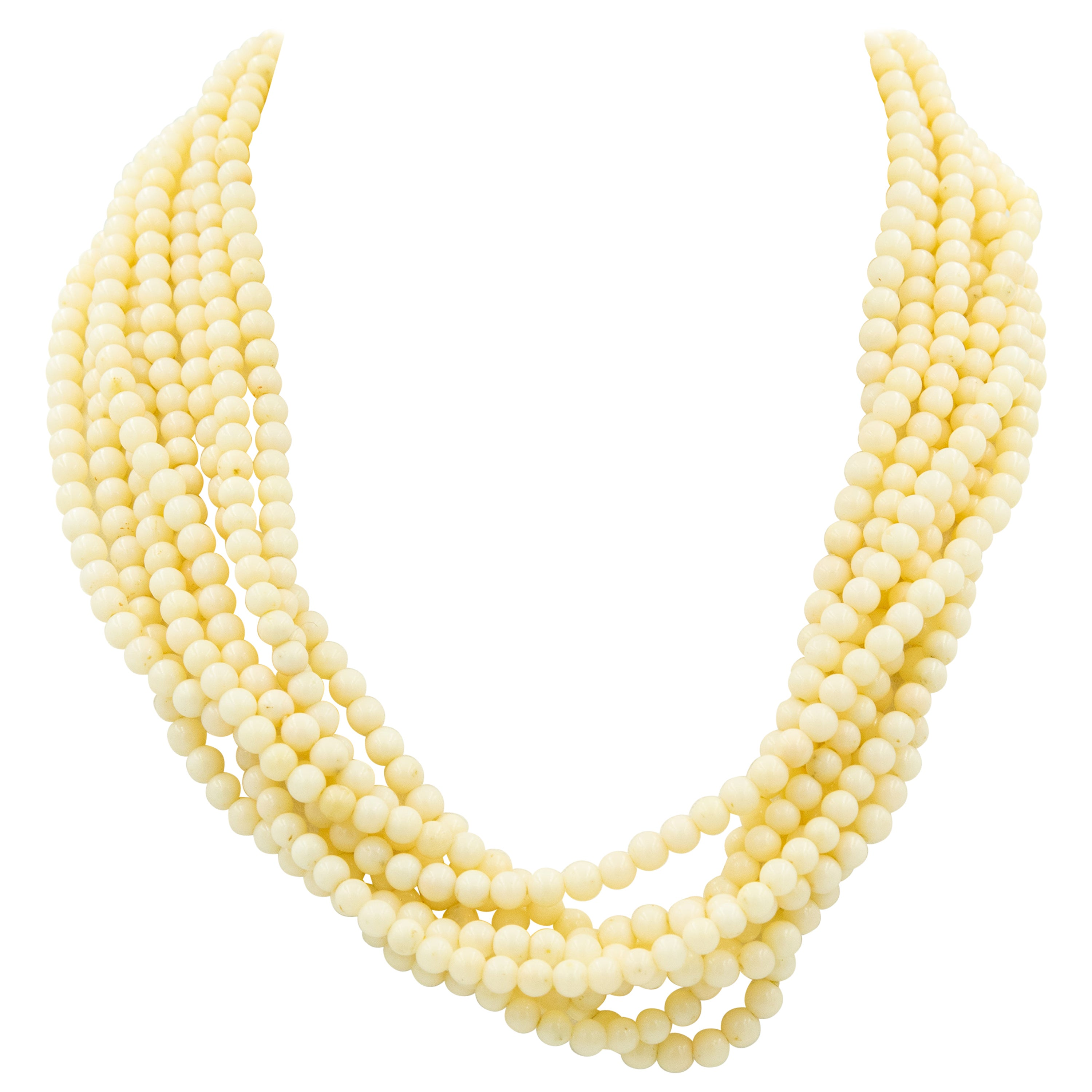 Pale 8-Strand Angel Skin Coral Bead Multi-Strand Necklace Gold Filagree Clasp