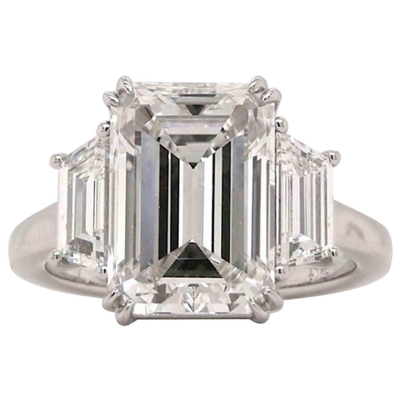 GIA Certified 5 Carat  Excellent Cut Emerald Cut Diamond Platinum Ring
