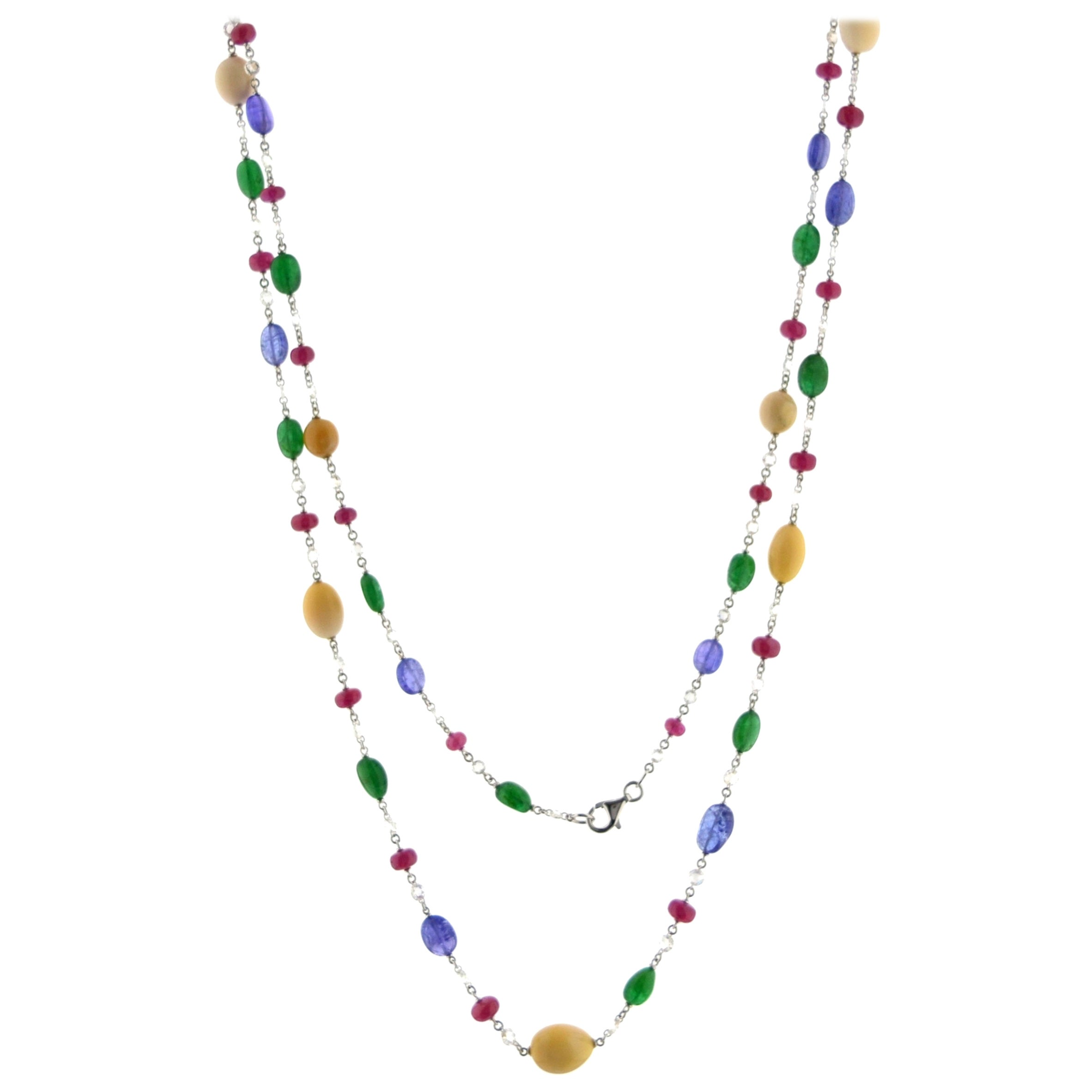 JR 18 Karat White Gold Rose Cut Diamond Multi-Color Necklace