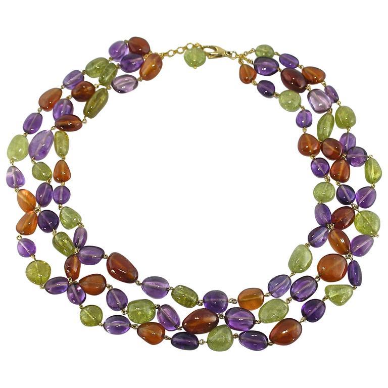 Jona Peridote Amethyst Carnelian Pebble 18k Gold Three Strand Necklace