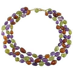 Jona Peridote Amethyst Carnelian Pebble 18k Gold Three Strand Necklace