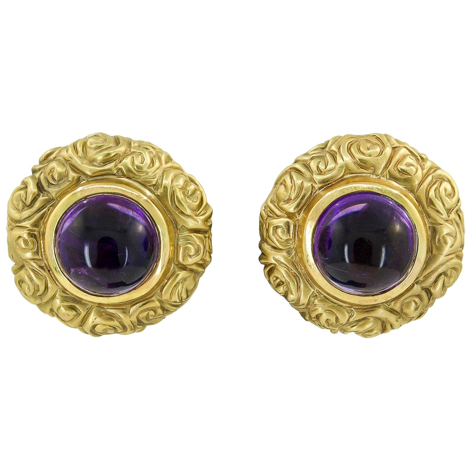 Cabochon Amethyst Yellow Gold Earrings