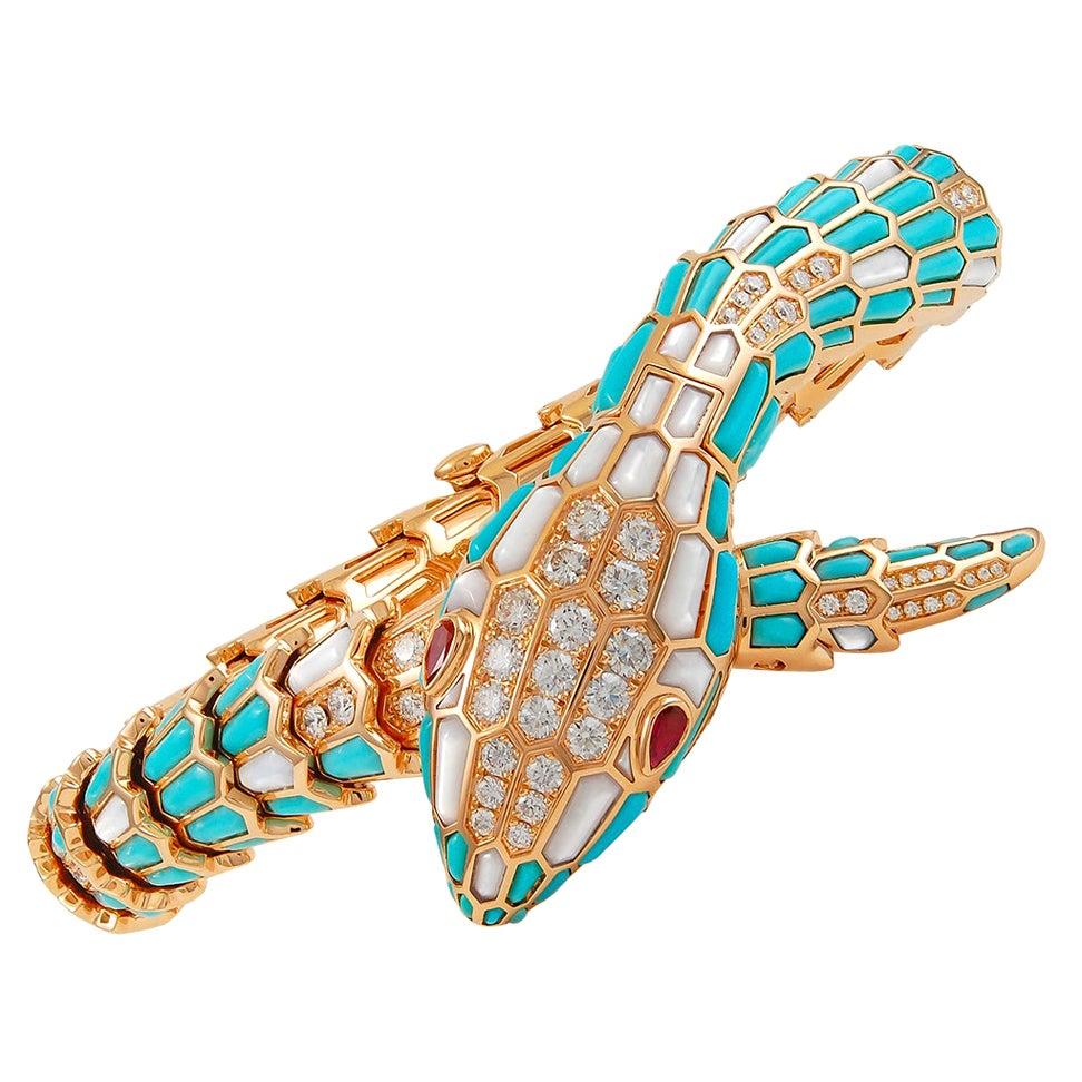 Bulgari Ladies Diamond Turquoise Rose Gold Serpenti Secret Wristwatch
