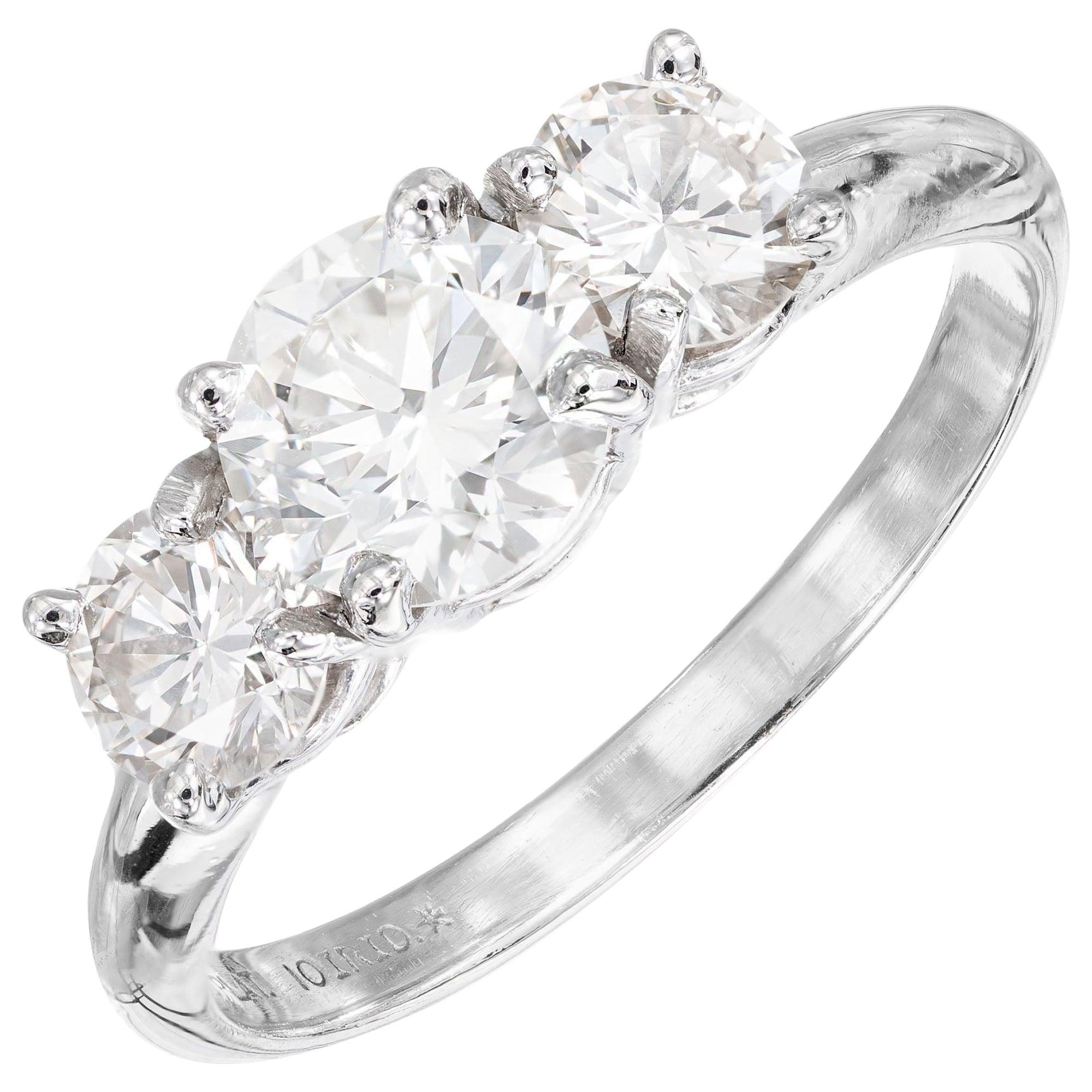 Peter Suchy GIA .85 Carat Diamond Platinum Three-Stone Engagement Ring