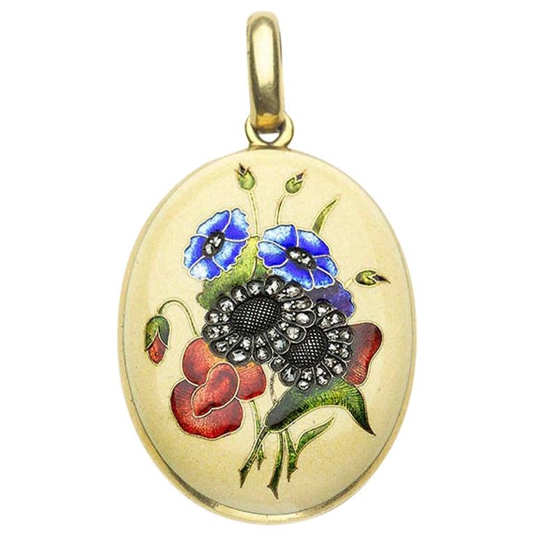 French Art Nouveau Enamel Flower Locket, circa 1900