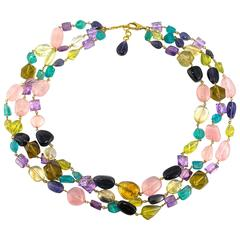 Jona Multiple Gems Pebble Gold Necklace