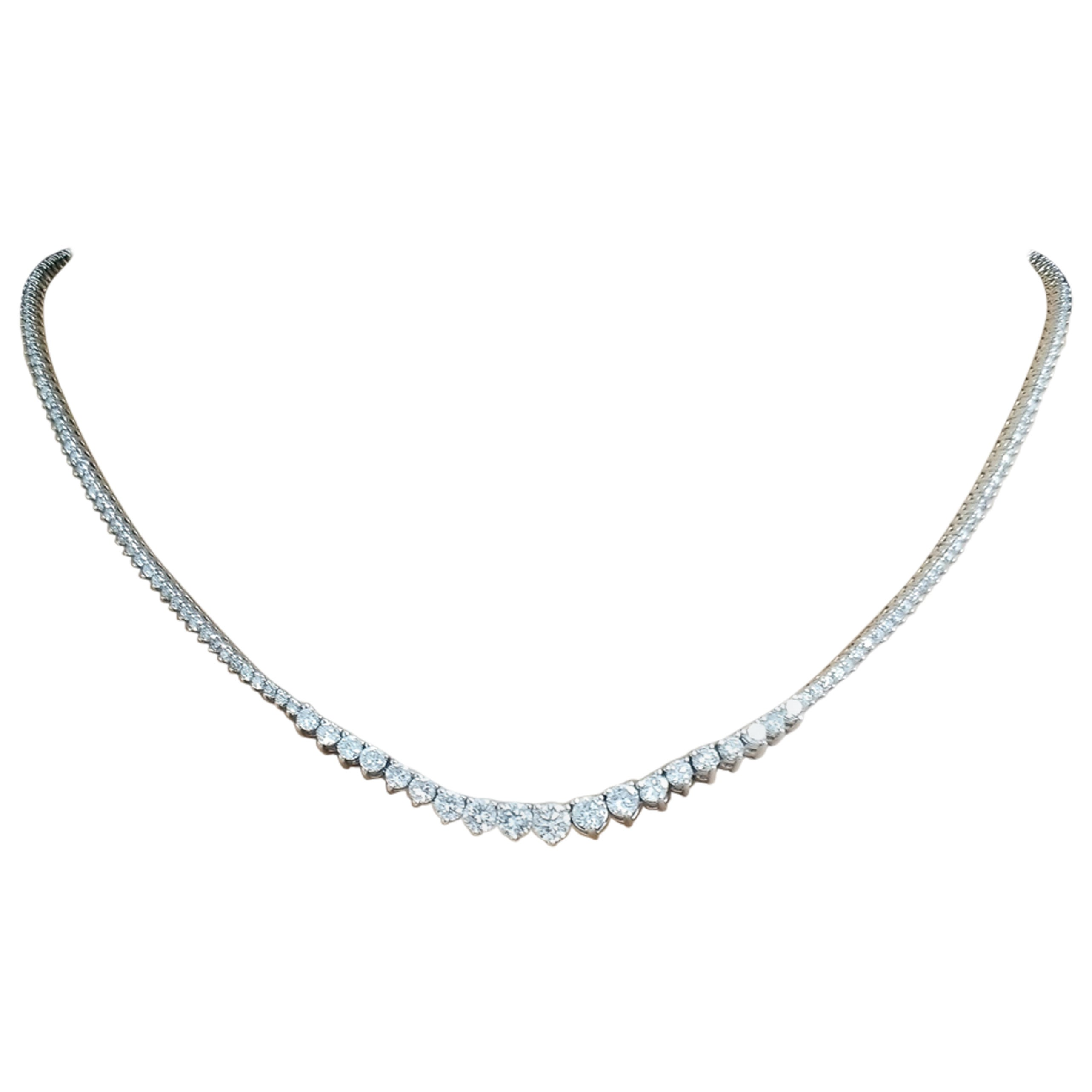 5.10 Carat Total Diamond Graduated Riviera Necklace in 14 Karat White Gold