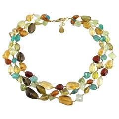 Jona Multiple Gem Pebble Gold Necklace