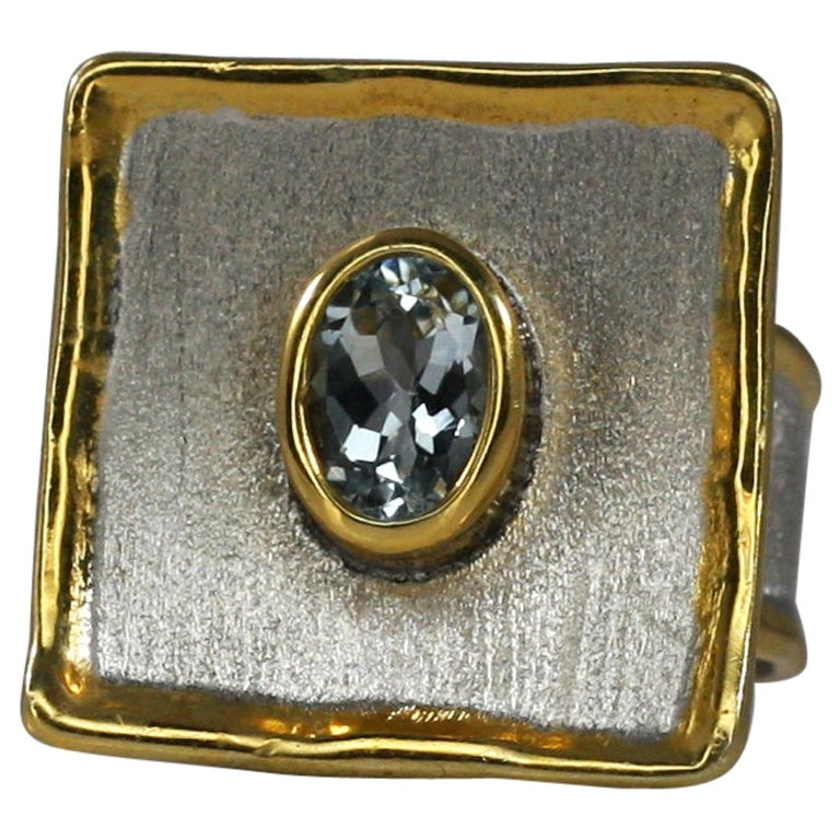 Yianni Creations Fine Silver and 24 Karat Gold Two-Tone Square Aquamarine Ring