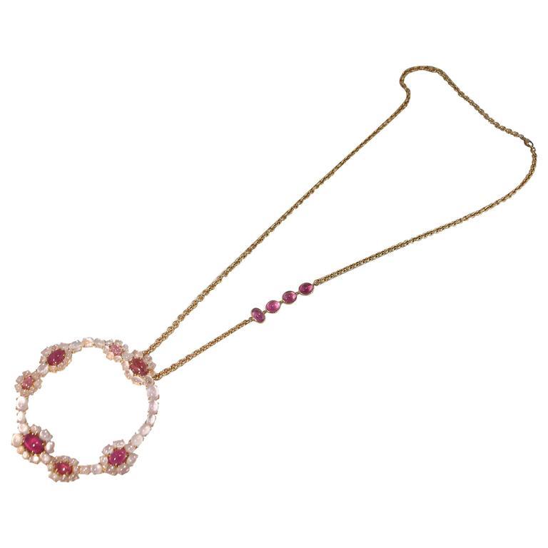 Jona Rubellite Tourmaline Burmese Moonstone 18k Rose Gold Pendant Necklace