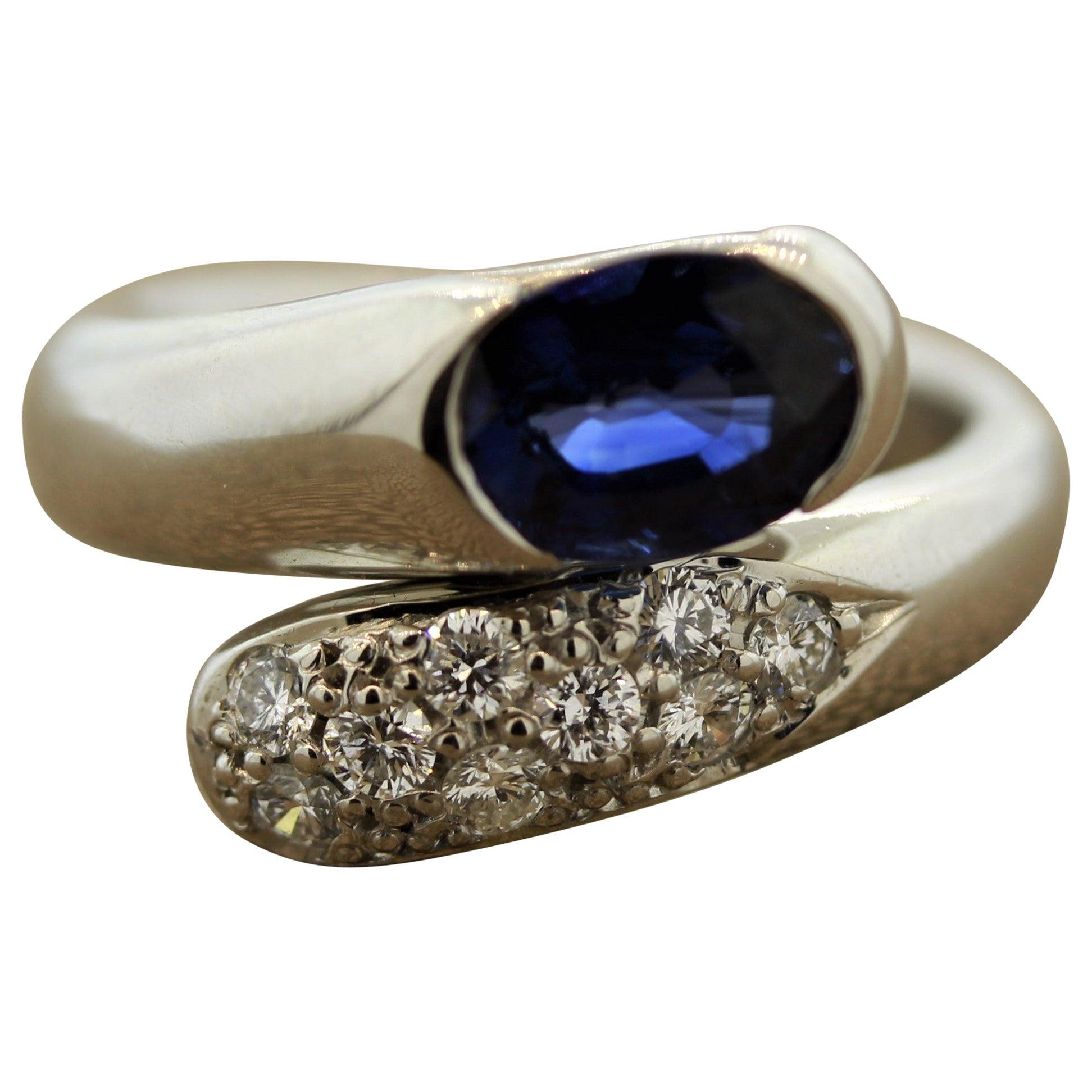 Blue Sapphire Diamond Platinum Bypass Ring