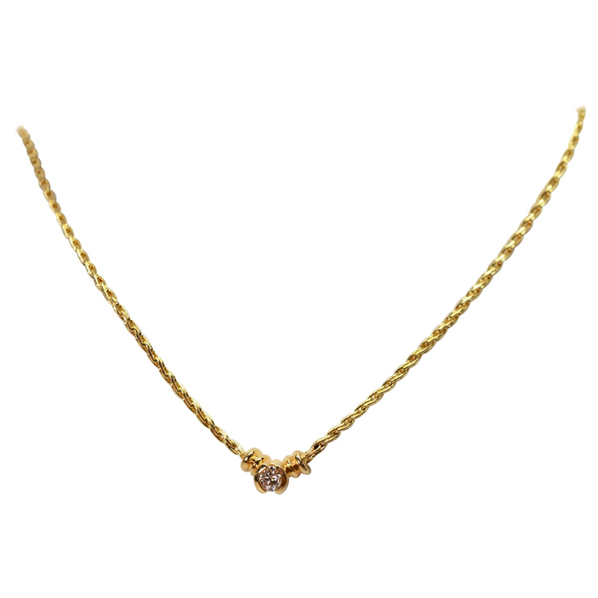 Diamond Solitaire Yellow Gold Wheat Chain Necklace